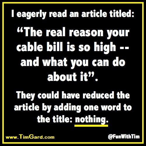 Tim Gard Meme - Cable Bill